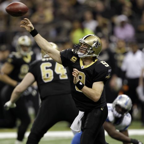 New Orleans Saints quarterback Drew Brees had 466 yards passing and three touchdowns in the Wild Card-round win over the Detroit Lions. (AP Photo/David J. Phillip)