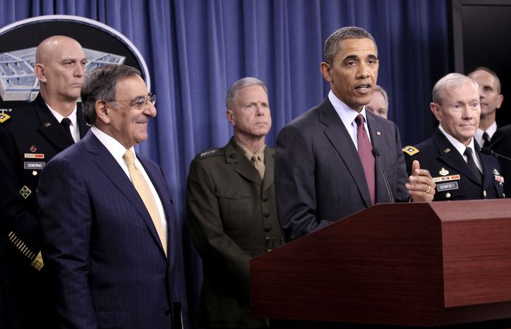 President Obama speaks during a news briefing at the Pentagon on Thursday, Jan. 5, 2012, to discuss defense strategic guidance. From left are Gen. Raymond T. Odierno, Army chief of staff; Defense Secretary Leon E. Panetta; Gen. James F. Amos, Marine Corps commandant; Navy Secretary Ray Mabus; Gen. Martin E. Dempsey, chairman of the Joint Chiefs of Staff; and Adm. Jonathan W. Greenert, chief of naval operations. (AP Photo/Pablo Martinez Monsivais)