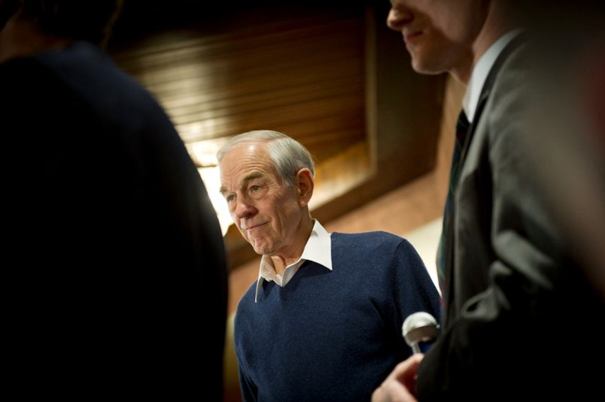 Republican presidential candidate Ron Paul arrives to speak to a crowd at Church Landing at Mill Falls in Meredith, N.H., Sunday, January 8, 2012. (Rod Lamkey Jr/ The Washington Times)