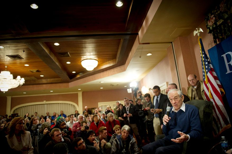 With two days before the nation's first presidential primary, Republican presidential candidate Ron Paul speaks to a crowd at Church Landing at Mill Falls in Meredith, N.H. (Rod Lamkey Jr/ The Washington Times)