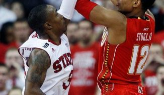 ASSOCIATED PRESS Guard Terrell Stoglin scored 25 points for Maryland in Sunday's loss at N.C. State despite playing in foul trouble. It was the ACC opener for both schools.