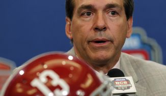 Alabama head coach Nick Saban speaks during a news conferemce for the BCS National Championship game Sunday, Jan. 8, 2012, in New Orleans. Alabama faces LSU Monday, Jan. 9, 2012. (AP Photo/Dave Martin)