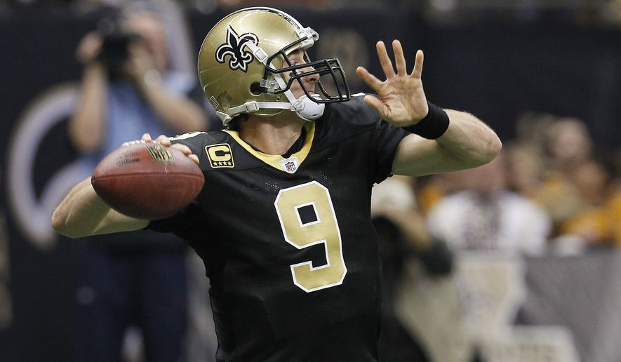 New Orleans Saints quarterback Drew Brees threw for 5,476 yards, 46 touchdowns and had a 110.6 quaterback rating this season. He tossed for 466 yards and three TDs in the wild-card playoff win over the Detroit Lions on Saturday. (AP Photo/Gerald Herbert)