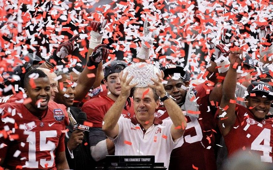 Crimson Tide coach Nick Saban celebrated Alabama's second BCS championship in the past three seasons after Monday night's 21-0 win over LSU. (Associated Press)