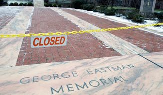 The George Eastman Memorial in Rochester, N.Y., holding the Eastman Kodak Co. founder's ashes, is closed to the public. The company said Tuesday that it has simplified its business structure in an effort to cut costs and accelerate its long-drawn-out digital transformation. (Associated Press)