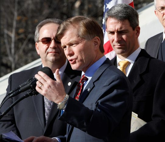 Virginia Gov. Bob McDonnell, a Republican, is joined by Lt. Gov. Bill Bolling (left) and Attorney General, Kenneth T. Cuccinelli II during a news conference Tuesday with House and Senate Republicans at the Capitol in Richmond. The 2012 session of the Virginia General Assembly begins Wednesday with the Senate split 20-20 by political parties. (Associated Press)