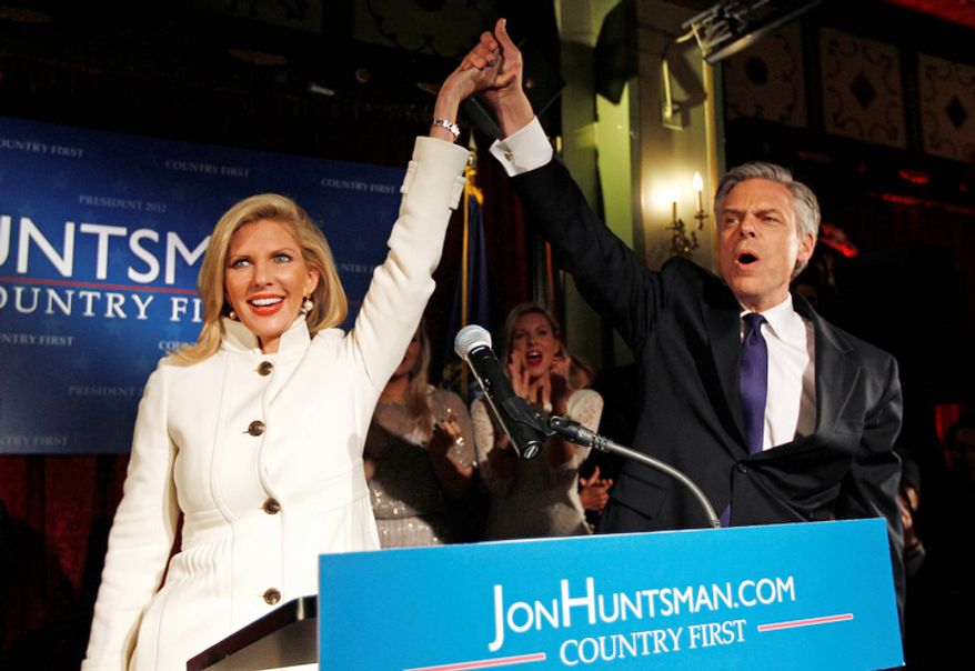 Republican presidential candidate, former Utah Gov. Jon Huntsman and his wife Mary Kaye arrive for a New Hampshire primary night party in Manchester, N.H., Tuesday Jan. 10, 2012. (AP Photo/Charles Krupa)