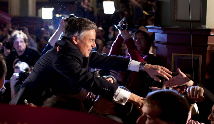 Former Utah Gov. Jon Huntsman shakes hands after speaking at an primary election night rally Tuesday, Jan. 10, 2012, in Manchester, N.H.  (AP Photo/Evan Vucci) ** FILE **