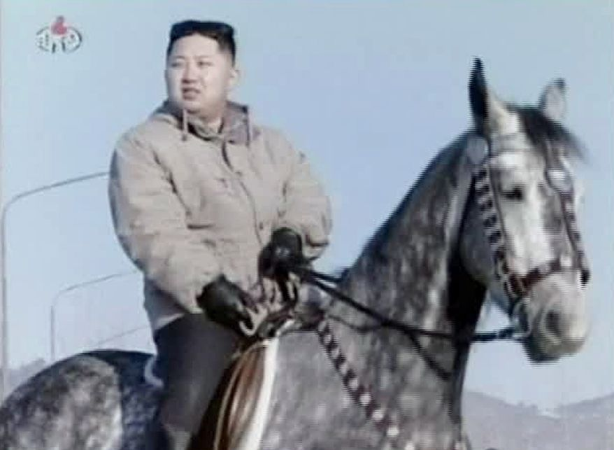 Kim Jong-un, North Korea's new young leader, rides a horse at an undisclosed place in North Korea in this undated image made from KRT video that aired on Sunday, Jan. 8, 2012. (AP Photo/KRT via APTN)