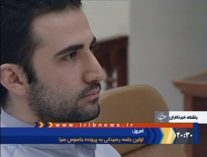 """Amir Mirzaei Hekmati, in a purported video confession to Iranians, says he worked for Kuma Games, """"a computer games company which received money from CIA."""" (IRIB via Associated Press)"""