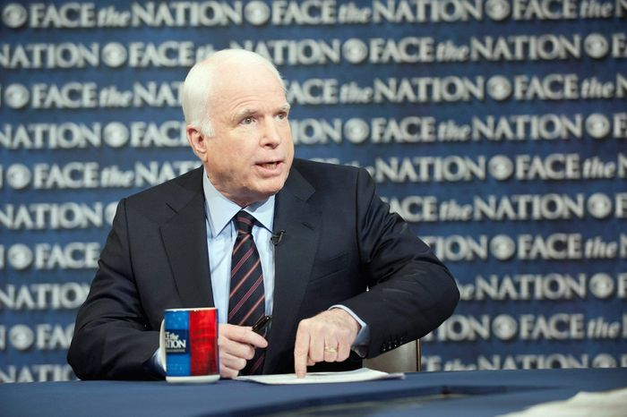 """This image released by CBS News Sunday, Jan. 8, 2012, shows Sen. John McCain, R-Ariz., on """"Face the Nation"""" in Washington. McCain discussed his endorsement of Mitt Romney and the 2012 presidential campaign. (AP Photo/CBS News, Chris Usher)"""