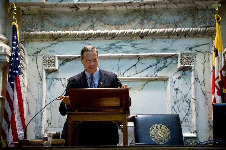 Maryland Gov. Martin O'Malley welcomes delegates back on Wednesday at the opening of the 2012 session of the General Assembly. In a surprise move, Mr. O'Malley suggested an increase in the state sales tax. (Barbara L. Salisbury/The Washington Times)