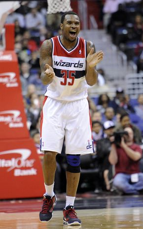 Washington Wizards forward Trevor Booker has been battling a strained left hamstring. (AP Photo/Nick Wass)