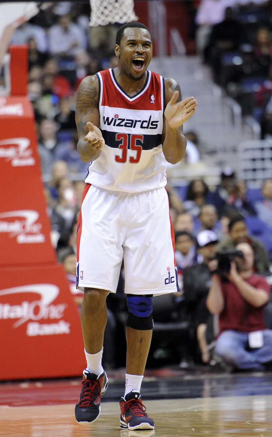 Washington Wizards forward Trevor Booker has been battling a strained left hamstring. (AP Photo/Nick Wass)