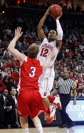 Maryland guard Terrell Stoglin, shown against Cornell, didn't start Wednesday, but he still rang up 20 points in 34 minutes against Wake Forest. (Associated Press)