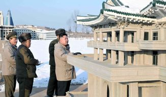 In this undated photo released Wednesday, Jan. 11, 2012, by the Korean Central News Agency and distributed Thursday, Jan. 12, 2012, in Tokyo by the Korea News Service, North Korea's new leader Kim Jong Un, right, inspects the Pyongyang Folk Park under construction in Pyongyang, North Korea. (AP Photo/Korean Central News Agency via Korea News Service)