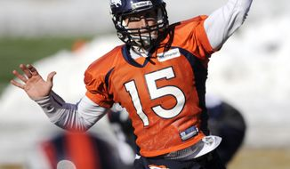 Denver Broncos quarterback Tim Tebow throws a pass Jan. 12, 2012, during practice in Englewood, Colo. (Associated Press/The Denver Post, Hyoung Chang)
