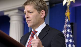 White House Press Secretary Jay Carney speaks during the daily briefing at the White House in Washington, Thursday, Jan. 12, 2012. (AP Photo/Susan Walsh)