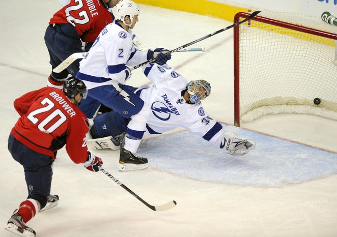 ** FILE ** Washington Capitals left wing Troy Brouwer had a hat trick in the Caps' 4-3 win over the Tampa Bay Lightning on Jan. 13. (AP Photo/Nick Wass)