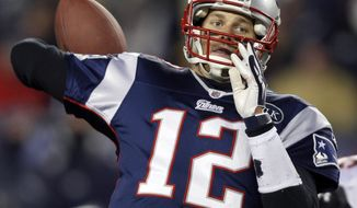 New England Patriots quarterback Tom Brady reaches back to pass during the second half of the NFL divisional playoff game against the Denver Broncos Saturday, Jan. 14, 2012, in Foxborough, Mass. (AP Photo/Charles Krupa)