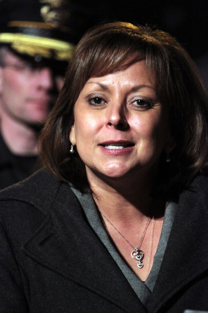 """""""What we have to do is this: We have to tone down the rhetoric, and we have to have a sincere, honest conversation with the voters,"""" said New Mexico Gov. Susana Martinez, a Republican. (Associated Press)"""