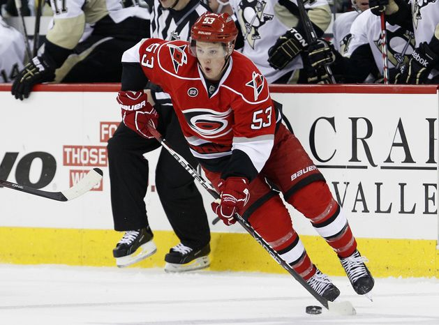Carolina Hurricanes forward Jeff Skinner will play in the AHL during the NHL lockout. (AP Photo/Gerry Broome, File)
