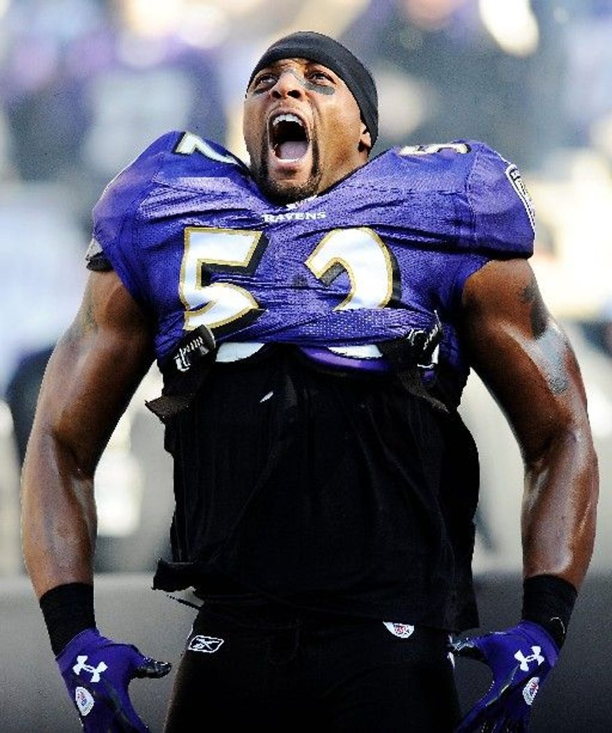 Baltimore Ravens linebacker Ray Lewis has been dishing out punishment throughout his 16-year career. (Associated Press)