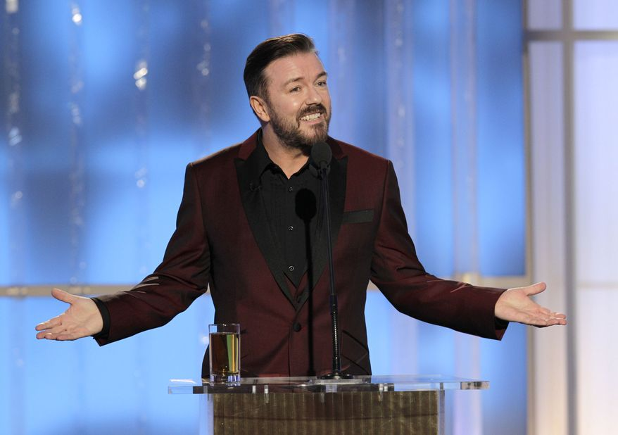 Ricky Gervais speaks Jan. 15, 2012, while hosting the 69th Annual Golden Globe Awards in Los Angeles. (Associated Press/NBC)
