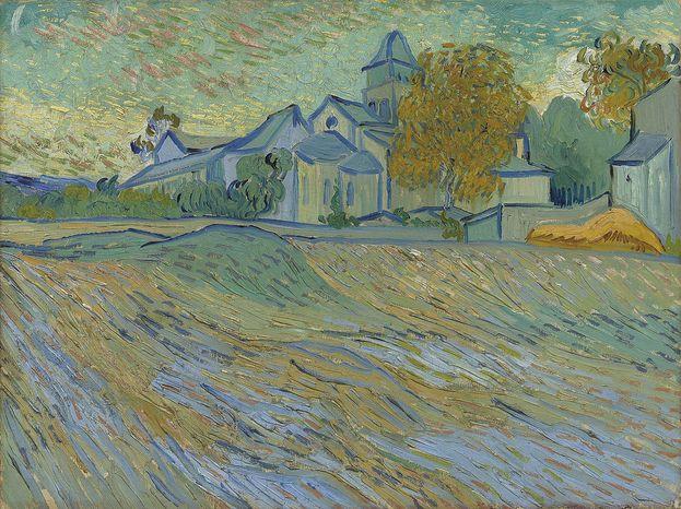 "Vincent van Gogh's autumn landscape ""Vue de l'Asile et de la Chapelle de Saint-Remy,"" from the collection of the late actress Elizabeth Taylor, is estimated to sell for 5 million to 7 million pounds ($7.6 million to $11 million) when auctioned by Christie's in London in February. (AP Photo/Christie's)"