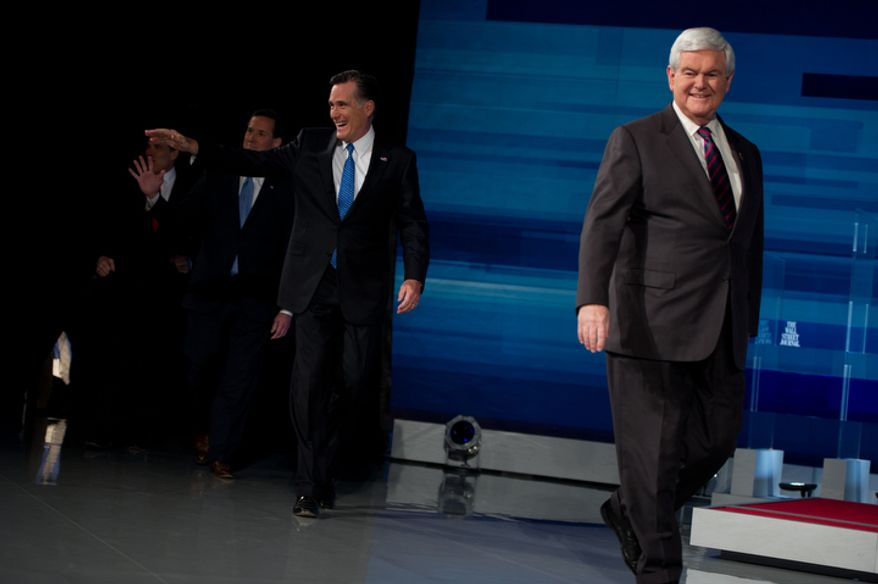 Republican Presidential hopefuls Rick Perry, Rick Santorum, Mitt Romney, and Newt Gingrich take the stage at a Presidential Debate held by The South Carolina Republican Party, Fox News Channel, The Wall Street Journal, and Twitter at the Myrtle Beach Convention Center, Myrtle Beach, SC, Monday, January 16, 2012. (Andrew Harnik / The Washington Times)