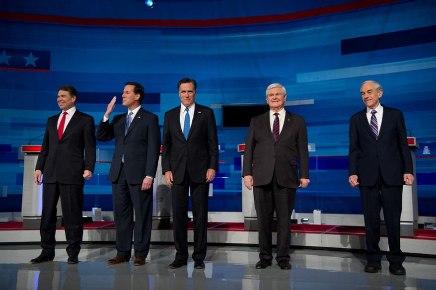 Republican presidential hopefuls Rick Perry, Rick Santorum, Mitt Romney, Newt Gingrich and Ron Paul take the stage at a debate held by the South Carolina Republican Party, Fox News Channel, The Wall Street Journal and Twitter at the Myrtle Beach Convention Center, Myrtle Beach, S.C., Monday, Jan. 16, 2012. (Andrew Harnik/The Washington Times)