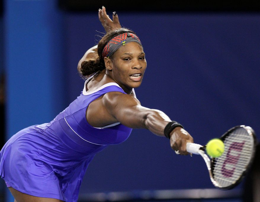 Serena Williams defeated Tamira Paszek 6-3, 6-2 to claim her 15th consecutive match at Melbourne Park. Williams won the Australian Open in 2009 and 2010 but was injured last year. (Associated Press)