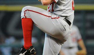 ** FILE ** Washington Nationals' Jordan Zimmerman in a baseball game against the Houston Astros Tuesday, July 19, 2011, in Houston. (AP Photo/Pat Sullivan)