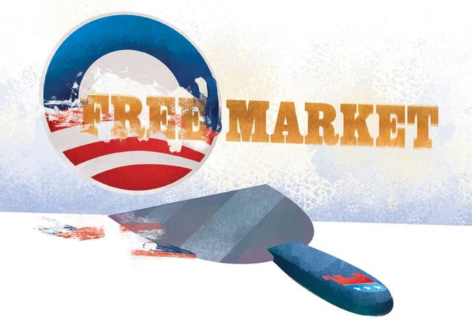 Illustration: Obama's free market by Linas Garsys for The Washington Times