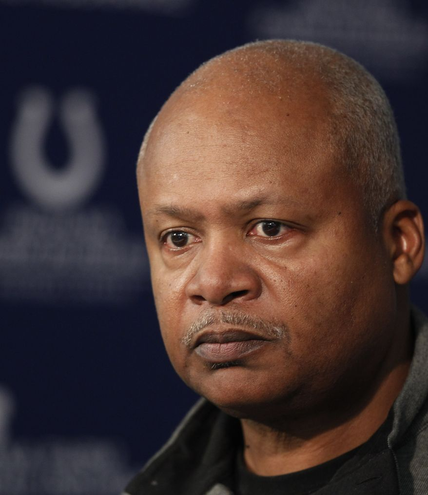 Indianapolis Colts head coach Jim Caldwell talks Jan. 2, 2012, about the season during a news conference at the NFL team's football practice facility in Indianapolis. The Colts finished the season with a 2-14 record. (Associated Press)