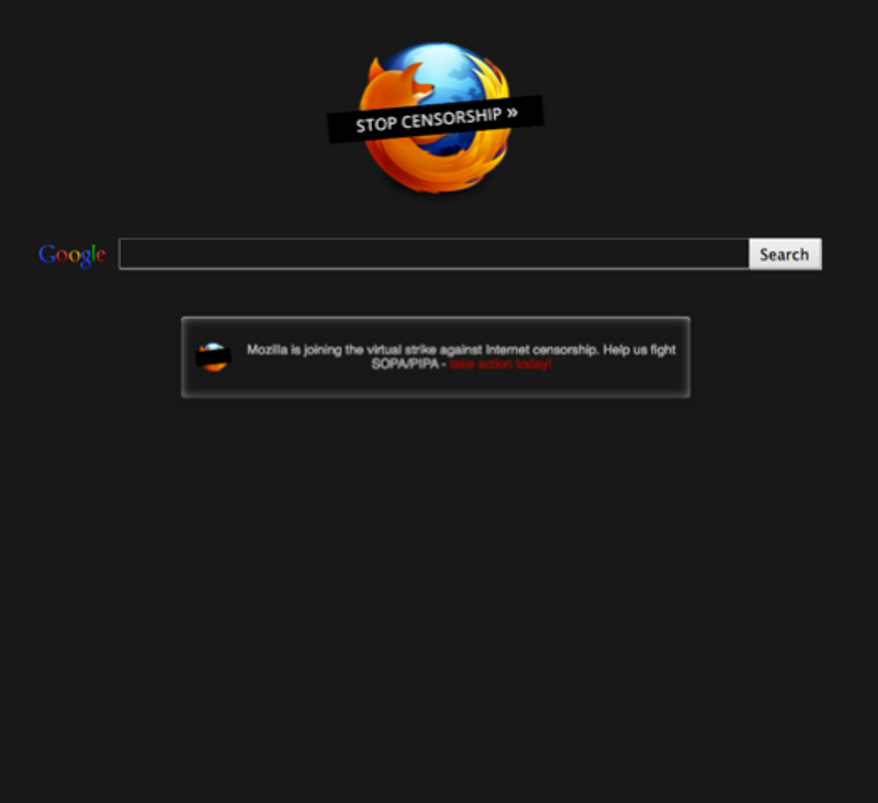 Mozilla plans to change the look of the default Firefox start page so that the tens of millions of Firefox users will see a black page with a call to action message to increase awareness of PIPA/SOPA, rather than the traditional white page with the Firefox logo. (Mozilla)