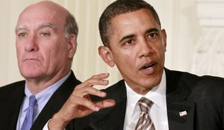 ** FILE ** President Obama sits with White House Chief of Staff Bill Daley while meeting with the Council on Jobs and Competitiveness on Jan. 17, 2012, in the State Dining Room of the White House. (Associated Press)