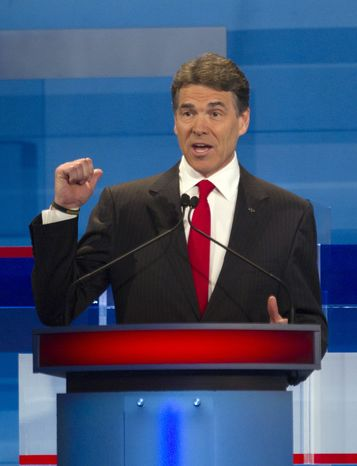 Texas Gov. Rick Perry speaks Jan. 16, 2012, during the South Carolina Republican presidential candidate debate in Myrtle Beach, S.C. (Associated Press)