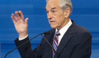 Texas Rep. Ron Paul speaks Jan. 16, 2012, during the Republican presidential candidate debate in Myrtle Beach, S.C. (Associated Press)