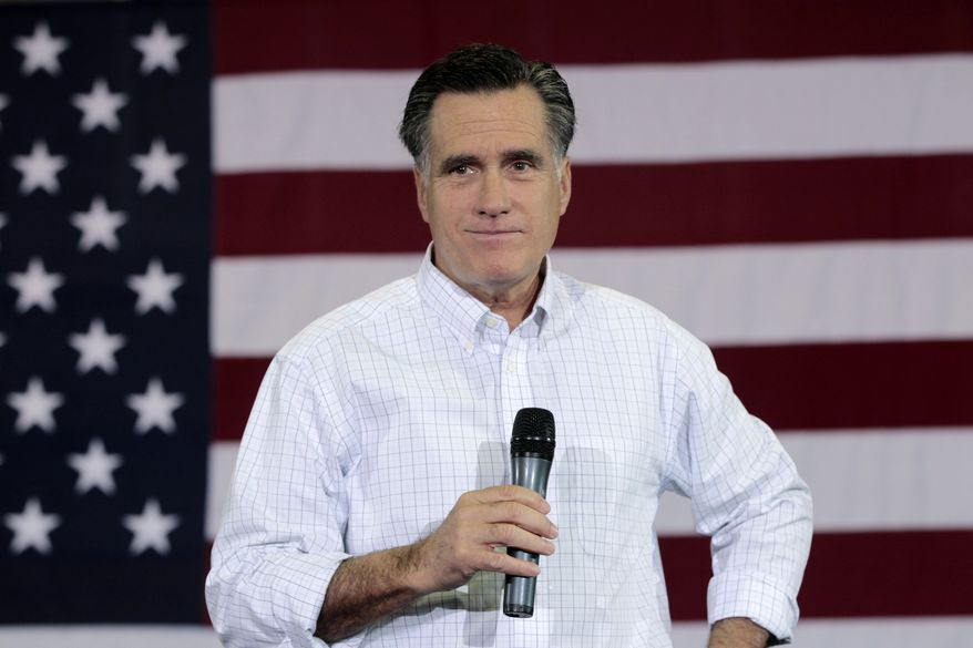 Republican presidential candidate and former Massachusetts Gov. Mitt Romney campaigns Jan. 17, 2012, at the Florence Civic Center in Florence, S.C. (Associated Press)