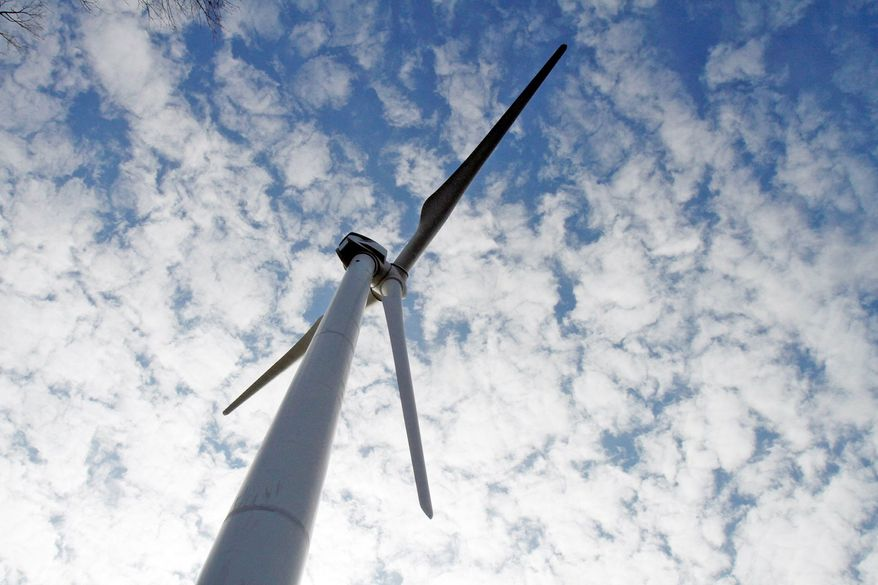 A wind turbine is part of the First Wind project in Sheffield, Vt. Gov. Peter Shumlin wants Vermont to get 90 percent of its energy needs from renewable sources by 2050. If the goal can be accomplished, it would largely eliminate the state's reliance on fossil fuels. (Associated Press)