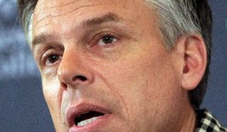 "Former Ambassador Jon Huntsman Jr. became the target of an anti-American campaign after he said the ""Internet generation"" will bring change in China. (Associated Press)"