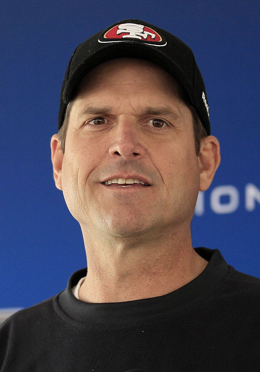 San Francisco 49ers head coach Jim Harbaugh addresses the media at a news conference at an NFL football training facility in Santa Clara, Calif., Wednesday, Jan. 18, 2012. The 49ers host the New York Giants on Sunday, Jan. 22, in the NFC championship. (AP Photo/Jeff Chiu)