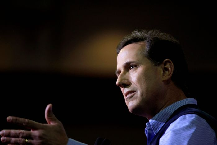 "Former Sen. Rick Santorum of Pennsylvania, a GOP hopeful, speaks to the Southern Republican Leadership Conference in Charleston, S.C., on Thursday. ""I was the author of the only bill that actually repealed a federal entitlement - welfare reform."" (Associated Press)"