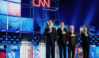 Republican presidential hopefuls (from left) Rick Santorum, Mitt Romney, Newt Gingrich and Ron Paul take the stage Jan. 19, 2012, for the Southern Republican Presidential Debate at the North Charleston Coliseum in Charleston, S.C. (Andrew Harnik/The Washington Times) **FILE**