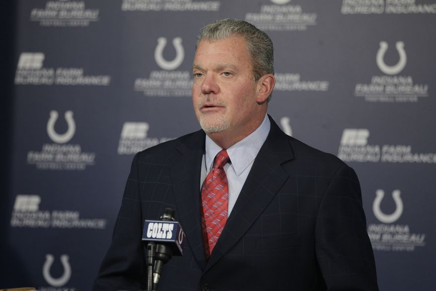 ** FILE ** Indianapolis Colts owner Jim Irsay speaks during a news conference at the team's headquarters Tuesday, Jan. 17, 2012, in Indianapolis. (AP Photo/Darron Cummings)