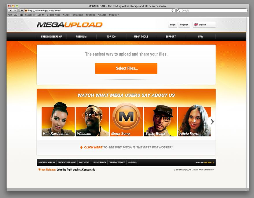 An undated image obtained by the Associated Press shows the home page of the website Megaupload.com, one of the world's largest file-sharing sites, which federal prosecutors in Virginia have shut down. (AP Photo)