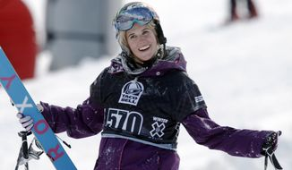 FILE - In a Jan. 28, 2010, file photo, Sarah Burke, of Canada, reacts after failing to place in the top-three finishers in the slopestyle skiing women's final at the Winter X Games at Buttermilk Mountain outside Aspen, Colo. Burke died Thursday, Jan. 19, 2012, nine days after crashing at the bottom of the superpipe during a training run in Utah. She was 29. Burke was injured Jan. 11 while training at a personal sponsor event at the Park City Mountain resort. (AP Photo/David Zalubowski, File)