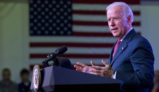 Vice President Joseph R. Biden speaks Jan. 19, 2012, at Galena High School in Reno, Nev. (Associated Press)