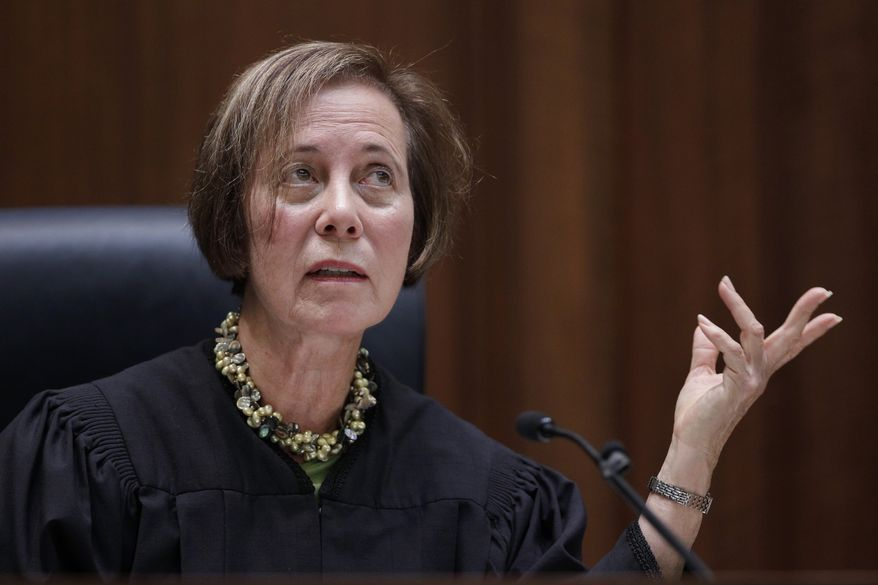 **FILE** California Supreme Court Justice Joyce Kennard gestures Jan. 10, 2012, during a hearing in San Francisco. Republicans urged the California Supreme Court to dump newly drawn state Senate districts planned for this year's election. Voters created the California Citizens Redistricting Commission to draw the new maps and take the highly politicized process away from the state Legislature. (Associated Press)